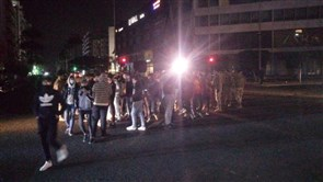 Protesters gather at Elia intersection in Sidon in solidarity with Tripoli demonstrations