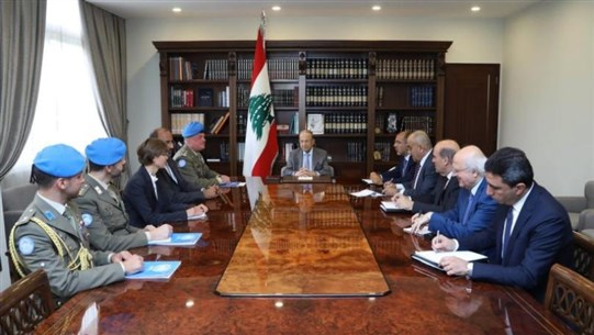 Aoun meets Del Col, says Lebanon will request UNIFIL's mandate renewal without modification