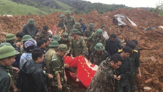 Landslide hits barracks in Vietnam, killing 14 and leaving 8 missing