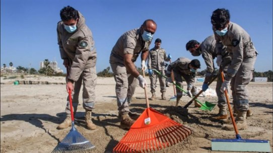 Lebanon steps up efforts to clean tar contaminated beaches in southern city of Tyre